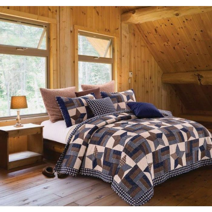 Primitive Navy Woodland Star Printed Quilt Set King Size Farmhouse Country Listing In The Quilts Beds Country Bedding Sets Quilt Sets Bedding Quilt Sets Queen