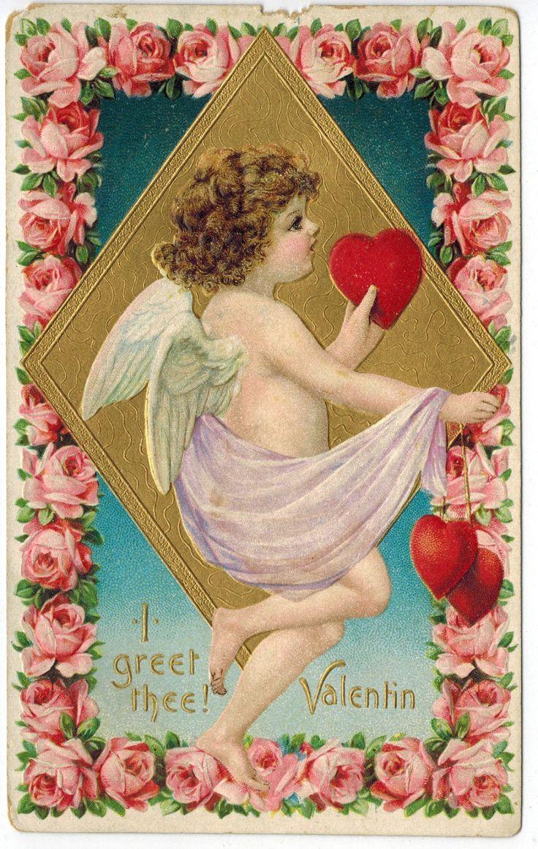 Gorgeous Vintage Valentines Day Postcard Cupid Roses Heart 1908 Emb DB Gold | eBay