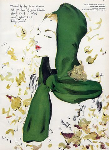 Lilly Daché (Millinery) 1943 Fashion Illustration, Marcel Vertes