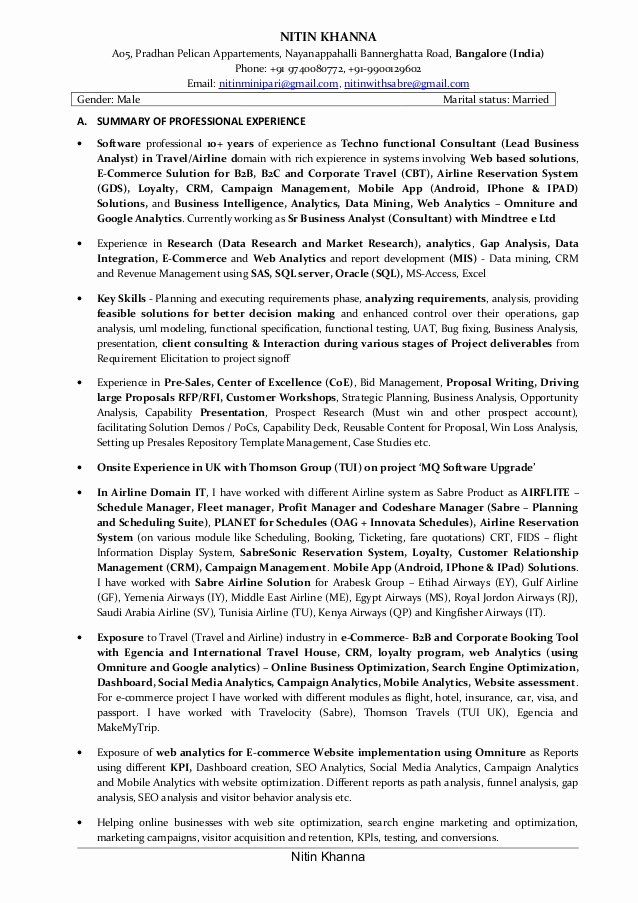 Business Data Analyst Resume Unique Lead Business Analyst Resume Of Nitin Khanna Business Analyst Resume Business Analyst Cv Writing Service