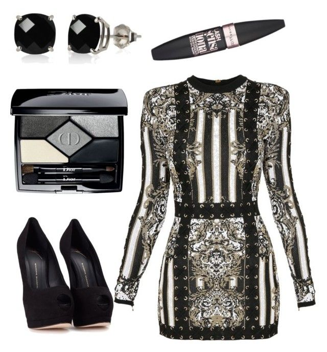 """Balmain love"" by tovenilsen on Polyvore featuring Balmain, Giuseppe Zanotti, Christian Dior, Belk & Co. and Maybelline"