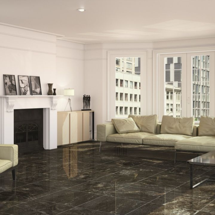 Beautiful black gloss floor tiles with a marble pattern for a wondeful  designer effect  These. 17 Best images about Stylish Large Floor Tiles on Pinterest   Grey