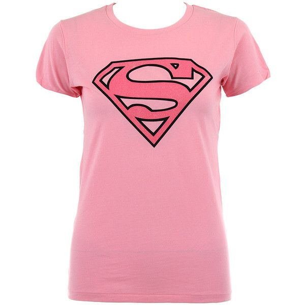 Superman Pink Emblem t shirt - womens skinny fit tees - Superman... ($24) ❤ liked on Polyvore