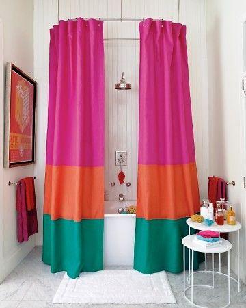 Cortina de baño en telas de colores