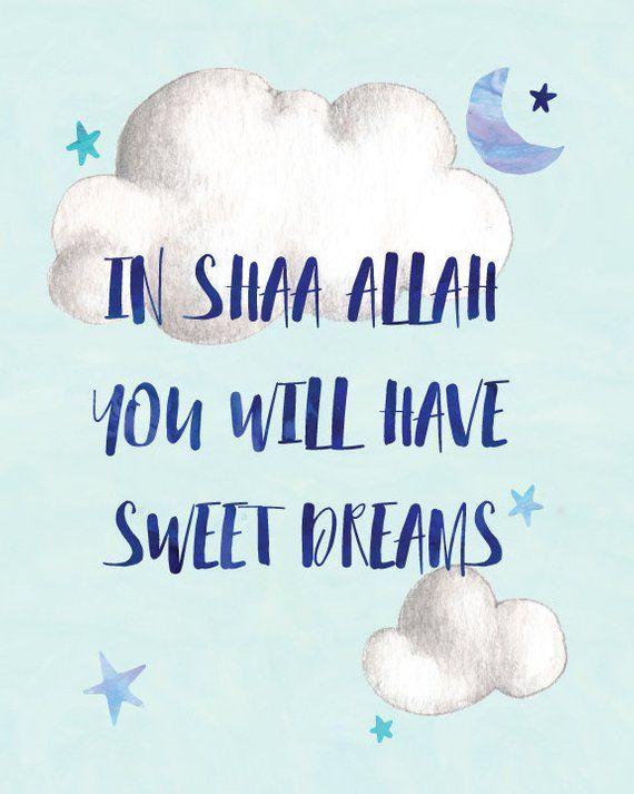 Nursery Baby Decor: Sweet Dreams In Shaa Allah Watercolor   Etsy