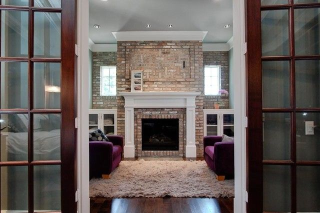Simple Living Room Design with Fireplace Mantel Kits that Brics ...