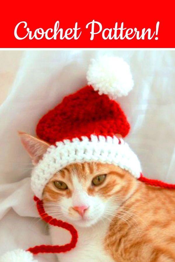 Cat Santa Hat Crochet Pattern Crochet Christmas Dog Hat Christmas Crochet Pattern Funny Crochet Christmas C Cat Hat Pattern Crochet Elf Hat Crochet Cat Hat