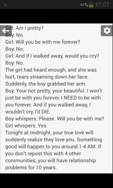 Idk if it is true but... find your true love btw the story is cute