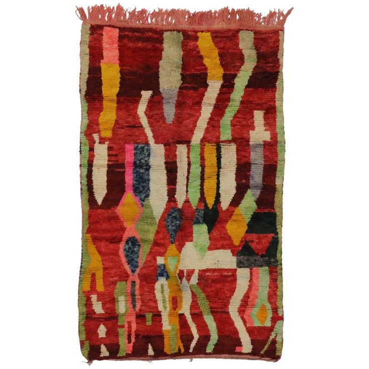Berber Moroccan Red Rug with Modern Tribal Style   From a unique collection of antique and modern moroccan and north african rugs at https://www.1stdibs.com/furniture/rugs-carpets/moroccan-rugs/