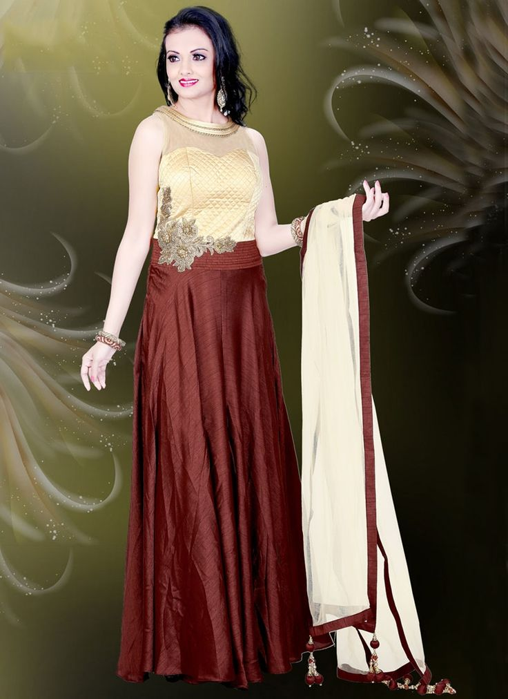 Buy Affectionate Brown Embroidered Work Readymade Gown