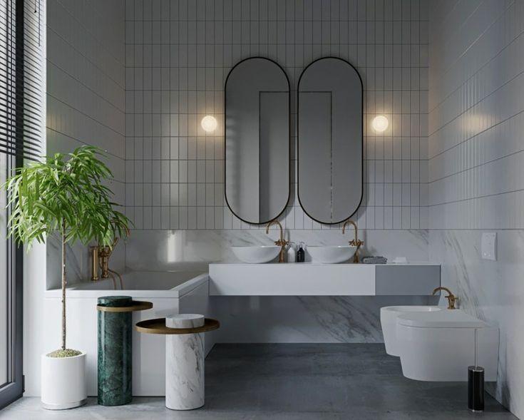 Badezimmer in weiß und grau, einige Designs mit Persönlichkeit für das Interieur