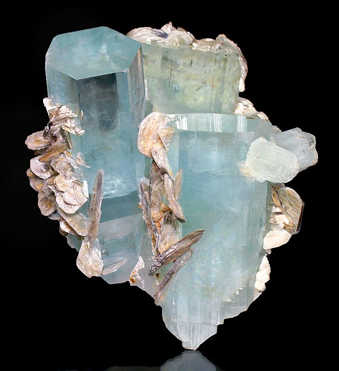 Aquamarine crystals and Muscovite. Stunning! From Chuman Bakhoor, Hunza Valley, Gilgit District, Cilgit-Baltistan, Pakistan