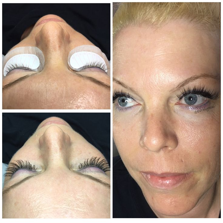 Classic lash extensions, before & after.