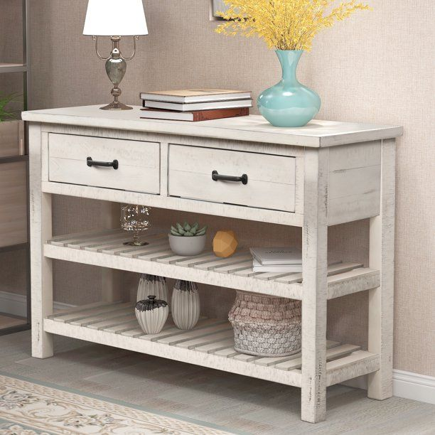 Entryway Table With Drawer Premium Solid Wood Console Table With 2 Spacious Drawers 2 Bottom Shelf Farmhouse Table Stable Entry Tables For Hallways Kitchen Entryway Console Table Rustic Console Tables