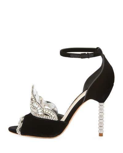 X3VNW Sophia Webster Royalty Velvet Crown Embellished Sandal