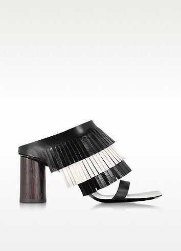 Black & White Leather Fringe Sandal - Proenza Schouler