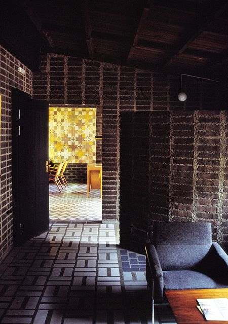 Sigurd Lewerentz at Sankt Petri, Klippan. Bricks, glazed bricks, floor tiles, timber ceiling.