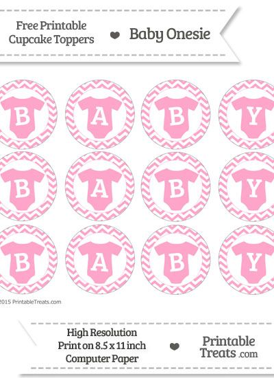 Free Carnation Pink  Chevron Baby Onesie Cupcake Toppers