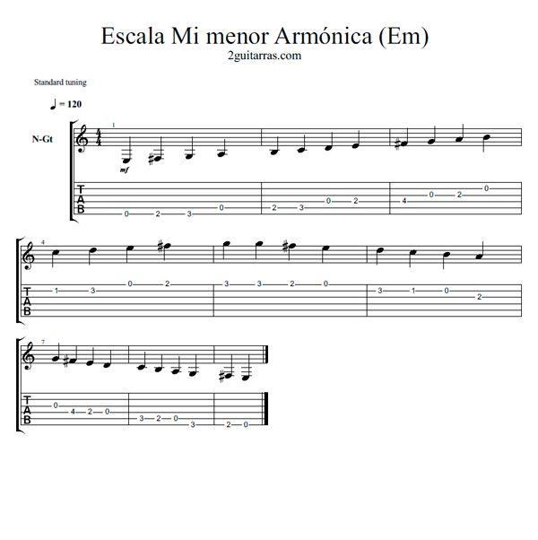 Escala Mi menor Armonica (Em)