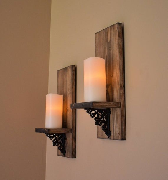 Rustic Wall Decor Wall Sconce Set Of 2 Modern Rustic Wood