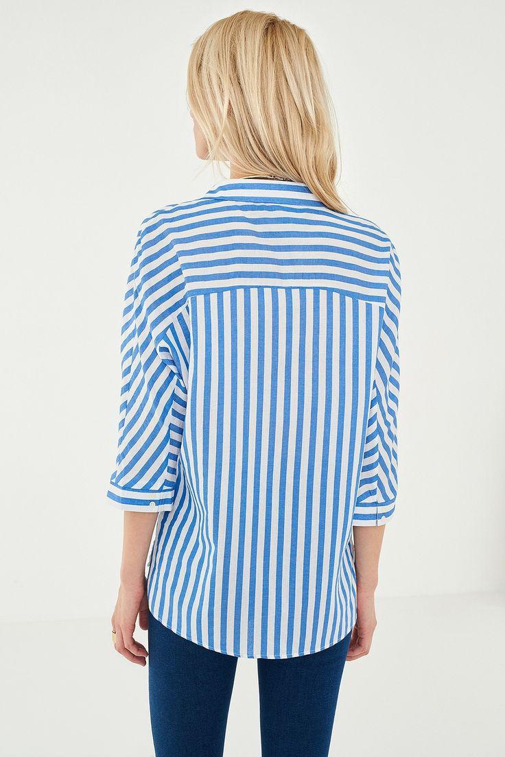 Mavi Çizgili Kadın Gömlek TRENDYOLMİLLA | Trendyol