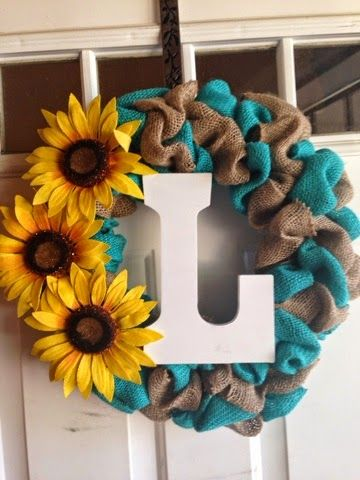 Monogram Burlap Bubble Wreath with turquoise burlap and sunflowers