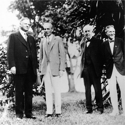 Pres. Herbert Hoover, Henry Ford, Thomas A. Edison and Harvey Firestone  Wow.
