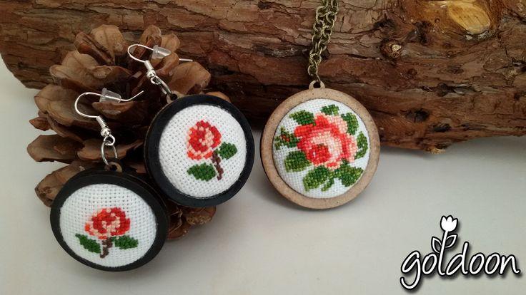 cross stitch jewelry,cross stitch necklace ,cross stitch earring,cross stitch rose,red rose ,hand stitch,handicraft