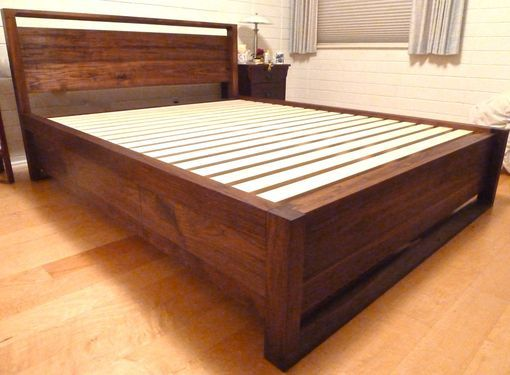 custom made walnut queen storage bed