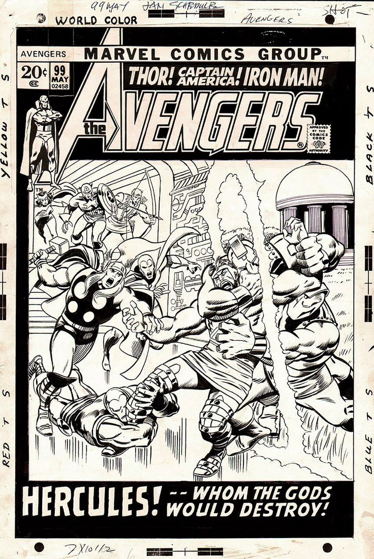 Comic Book Cover Art For Sale ~ Avengers cover by john buscema and barry windsor smith
