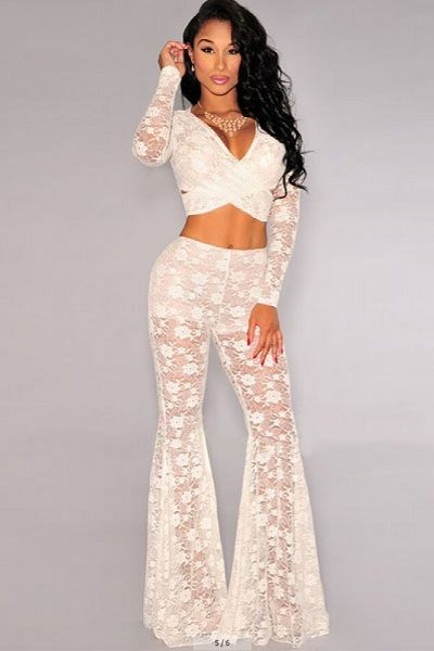 Off-White Lace Bell Bottoms Two Pieces Pants Set