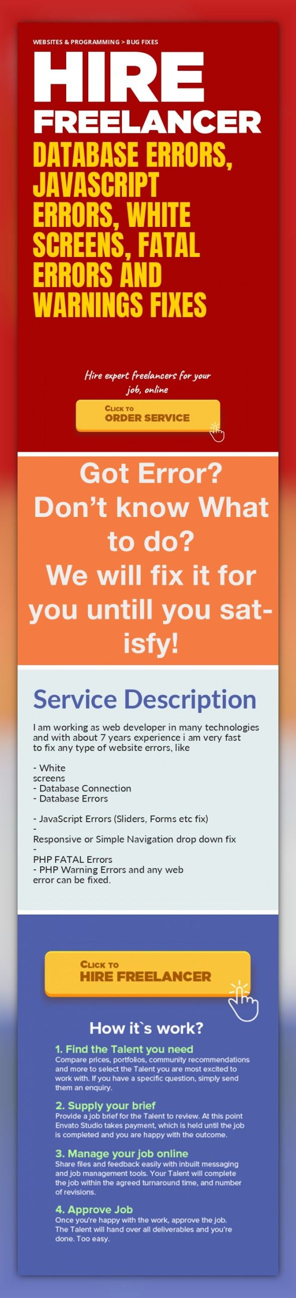 Database Errors, JavaScript Errors, White Screens, Fatal Errors and Warnings Fixes Websites & Programming, Bug Fixes   I am working as web developer in many technologies and with about 7 years experience i am very fast to fix any type of website errors, like     - White screens  - Database Connection   - Database Errors   - JavaScript Errors (Sliders, Forms etc fix)  - Responsive or Simple Navigat...