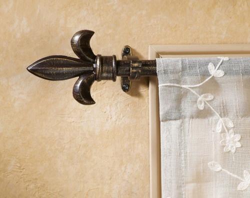 Antique Bronze Finish Fleur De Lis Curtain Rod