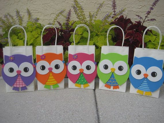 Colorful Owl Birthday Party Favor Bag by christinescritters