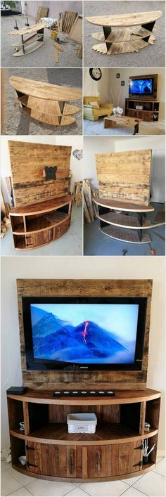 DIY Wood Pallet Entertainment Center - TV Stand