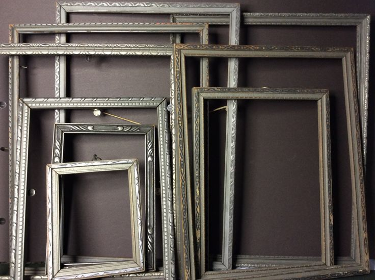 Art Deco (9) Frames, 1920s Pressed Wood Photo Picture Frame Lot, Empty