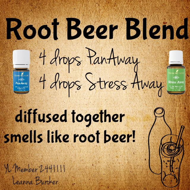 Root Beer diffuser blend! Love this!! Stress Away + PanAway essential oils. Thinking about signing up? Member #2441111