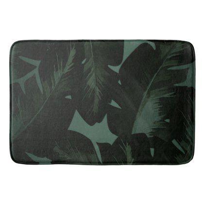 Dark Green & Black Tropical Palm Leaves Tropics Bath Mat - elegant gifts gift ideas custom presents