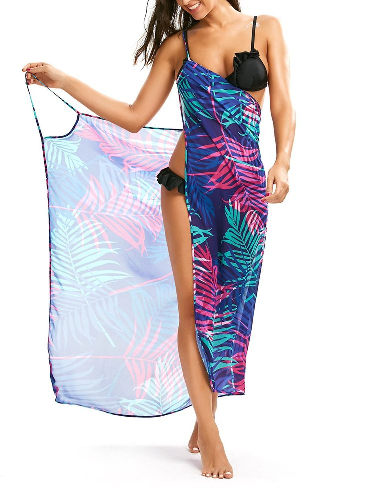 Tropical Leaf Cover Up Slip Dress - COLORMIX S
