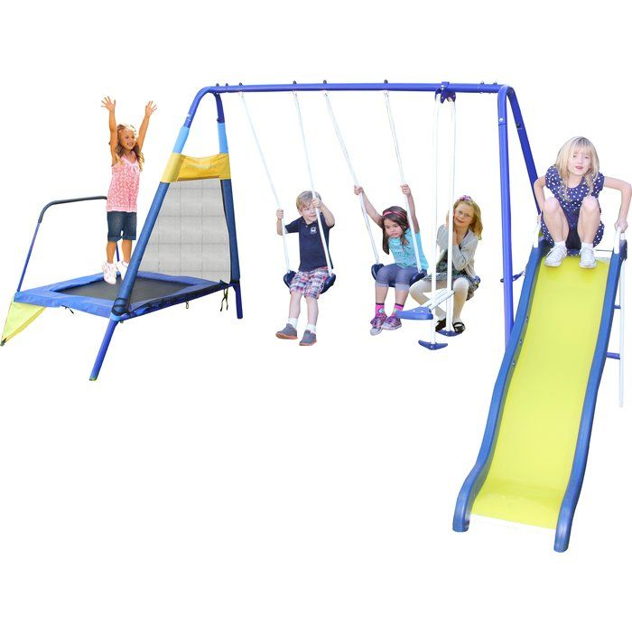 The Sportspower Almansor Metal Swing Set provides hours of active fun for kids. With two swing seats, a slide, a trampoline and a glide ride, this action-packed outdoor swing set for kids will undoubtedly become an outdoor favorite. Kids will get exercise and have fun with the Sportspower Almansor Metal Swing Set.
