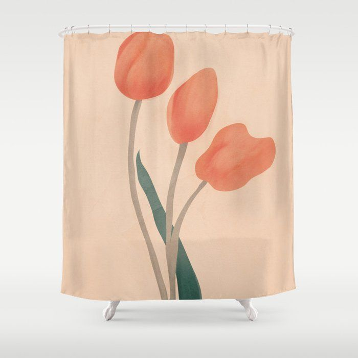 Orange Tulips Shower Curtain In 2020 Tulip Shower Curtain