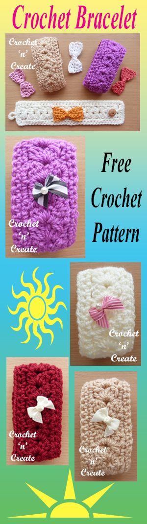 A fun crochet bracelet, add bows or flowers to adorn. #crochet