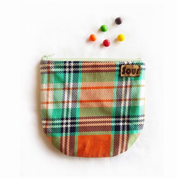 The Afternoon// Orange and Green Plaid Zipper Pouch with