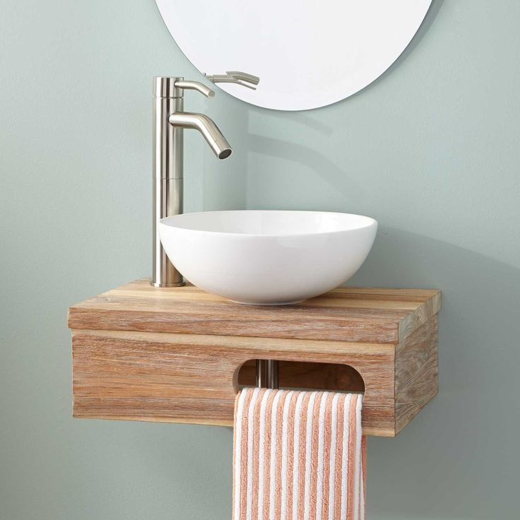 """$190 - does not include bowl or faucet; 18""""+Dell+Teak+Wall-Mount+Vessel+Vanity+with+Towel+Bar+-+Whitewash"""