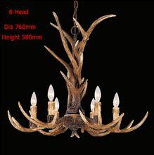 ヨーロッパの国6頭のキャンドル枝角のシャンデリアアメリカンレトロな鹿の角ランプ家庭用樹脂の装飾照明e14110-240v(China (Mainland))
