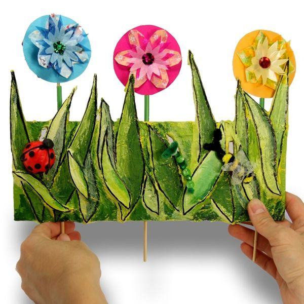 paper craft idea to make with children 3 d spring garden - Garden Art Ideas For Kids
