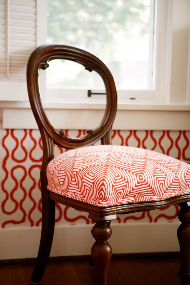 A little occasional chair covered in a Trina Turk indoor/outdoor fabric. Squiggle wallpaper Vivienne Westwood at Cole & Son