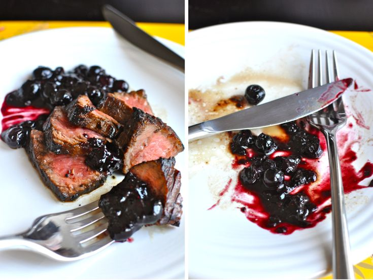 balsamic steak with blueberry port jam