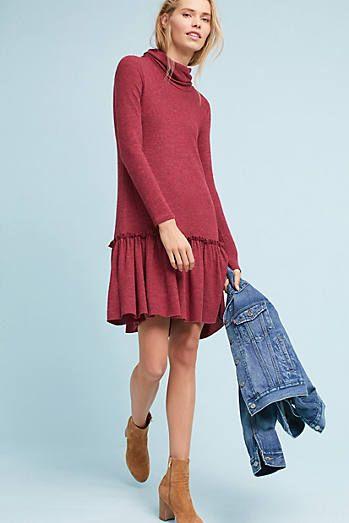 Turtleneck Drop-Waist Dress