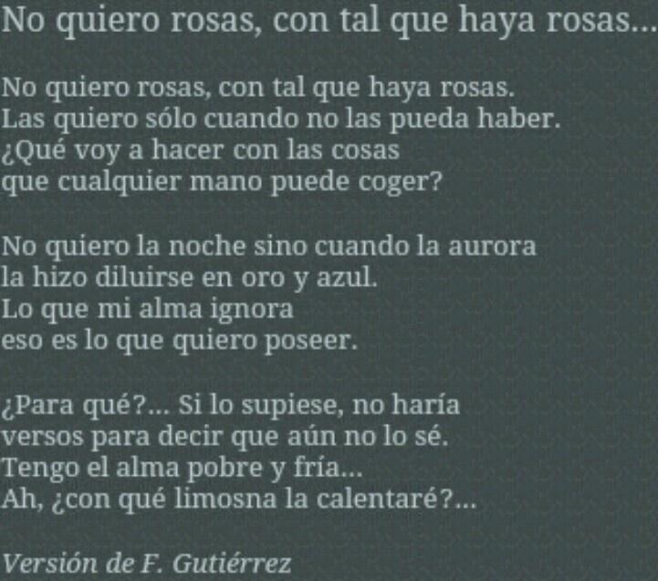 `No quiero rosas,con tal que haya rosas..´